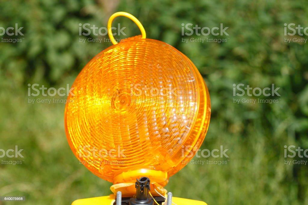 Verkehrszeichen Baustellenlampe stock photo