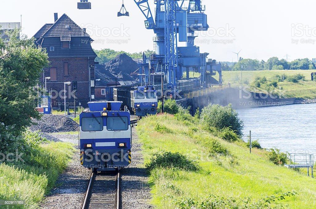 Verladehafen Orsoy am Rhein stock photo