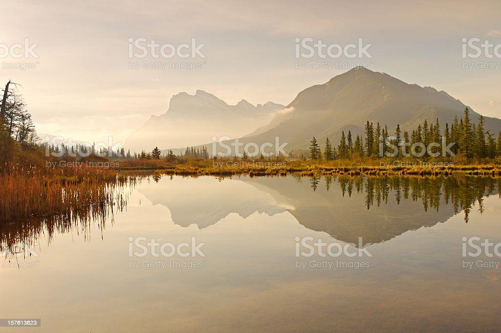 Vermilion Lakes dawn reflections royalty-free stock photo