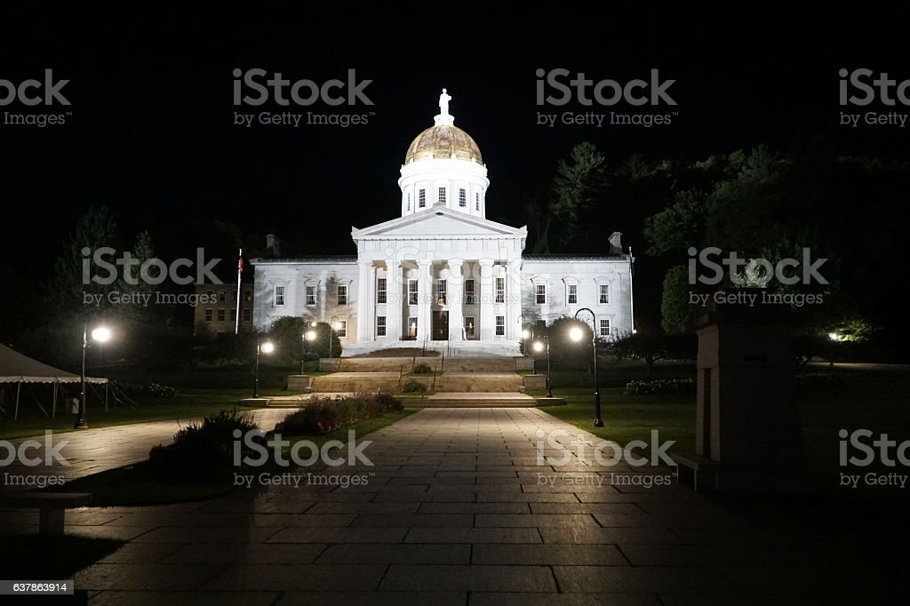Vermont Capitol at night stock photo