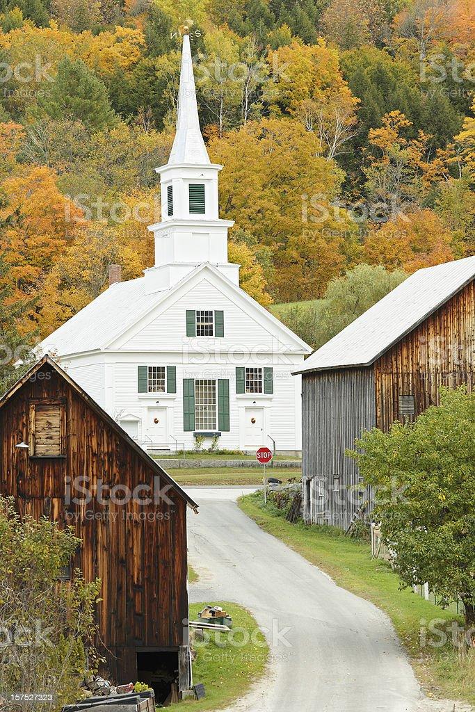 Vermont Church in Autumn royalty-free stock photo