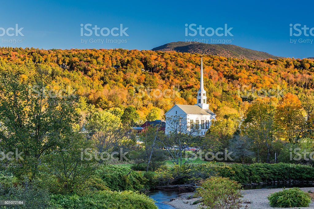 Vermont Fall Foliage and the Stowe Community Church stock photo