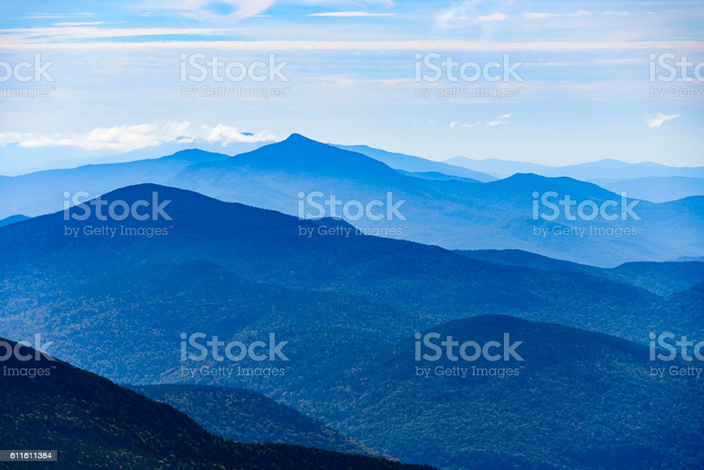 Vermont mountain range seen from the top of Mount Mansfield stock photo