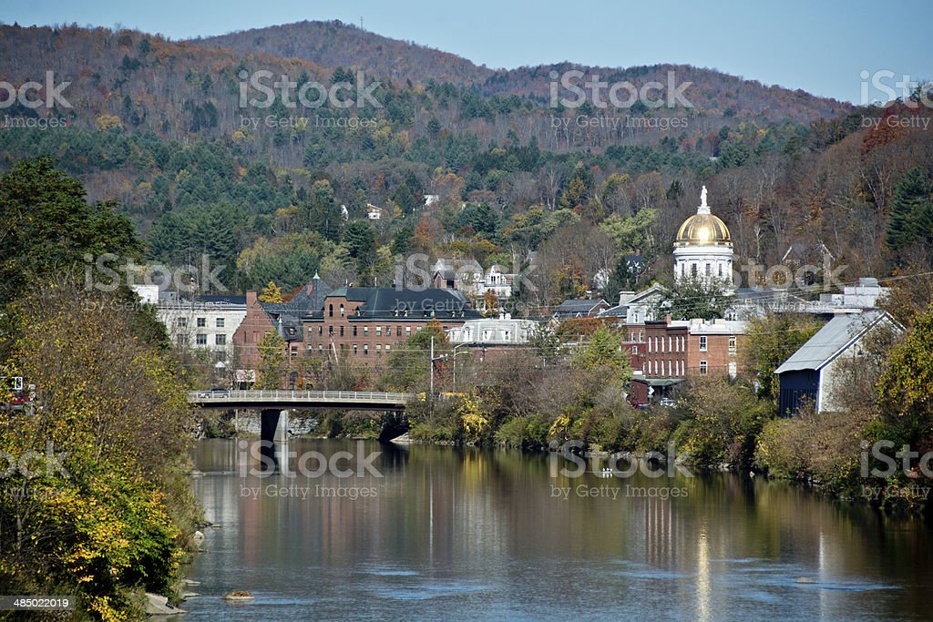 Vermont State Capitol on the Winooski River in autumn stock photo
