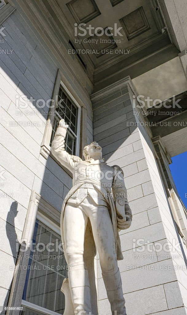 Vermont State House Entrance Statue, United States stock photo