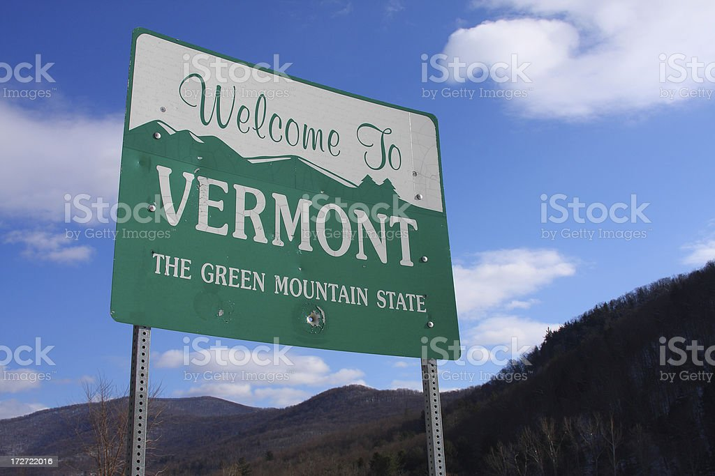 Vermont Welcome Sign stock photo