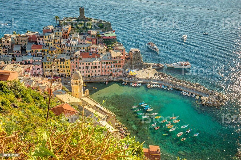 Vernazza aerial view, Cinque Terre, Italy stock photo