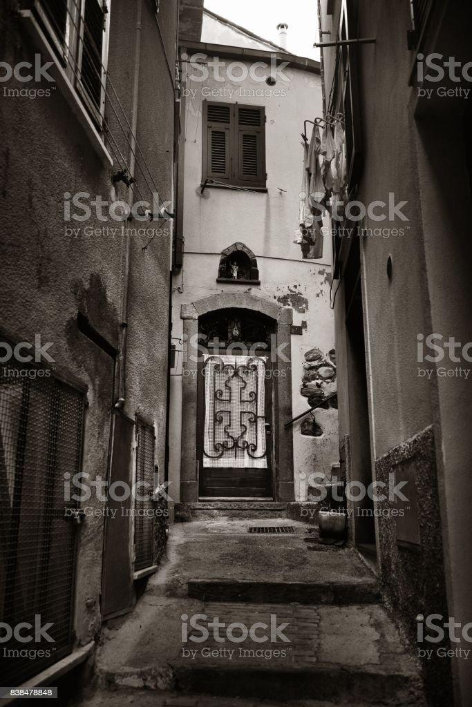 Vernazza alley Cinque Terre stock photo