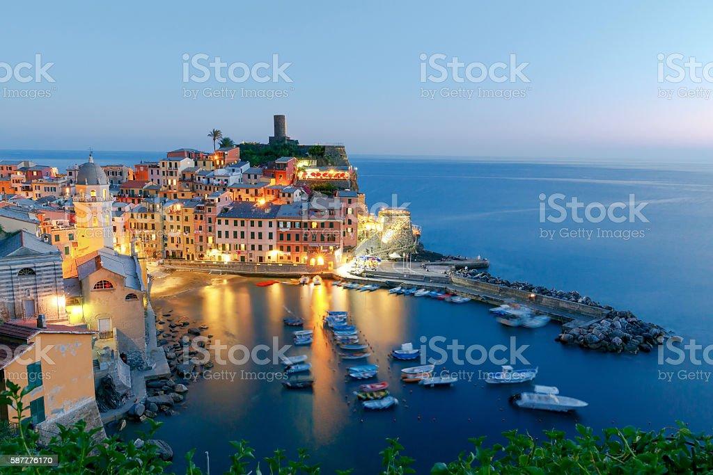 Vernazza. Ancient Italian village on the Mediterranean coast. stock photo