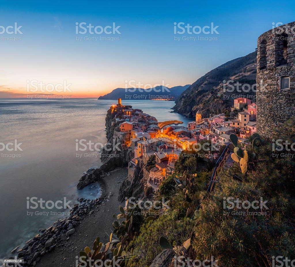 Vernazza at dawn,Cinque Terre National Park, Ligurian Riviera, Italy stock photo