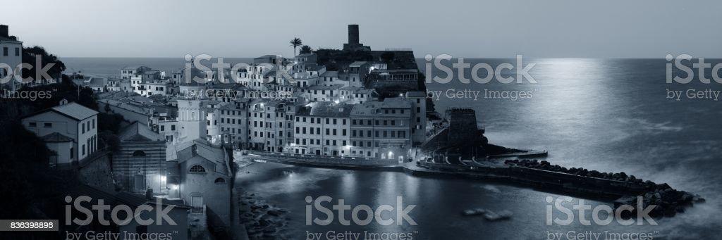 Vernazza at night in Cinque Terre stock photo