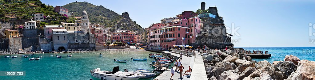 Vernazza big panorama, Cinque Terre royalty-free stock photo