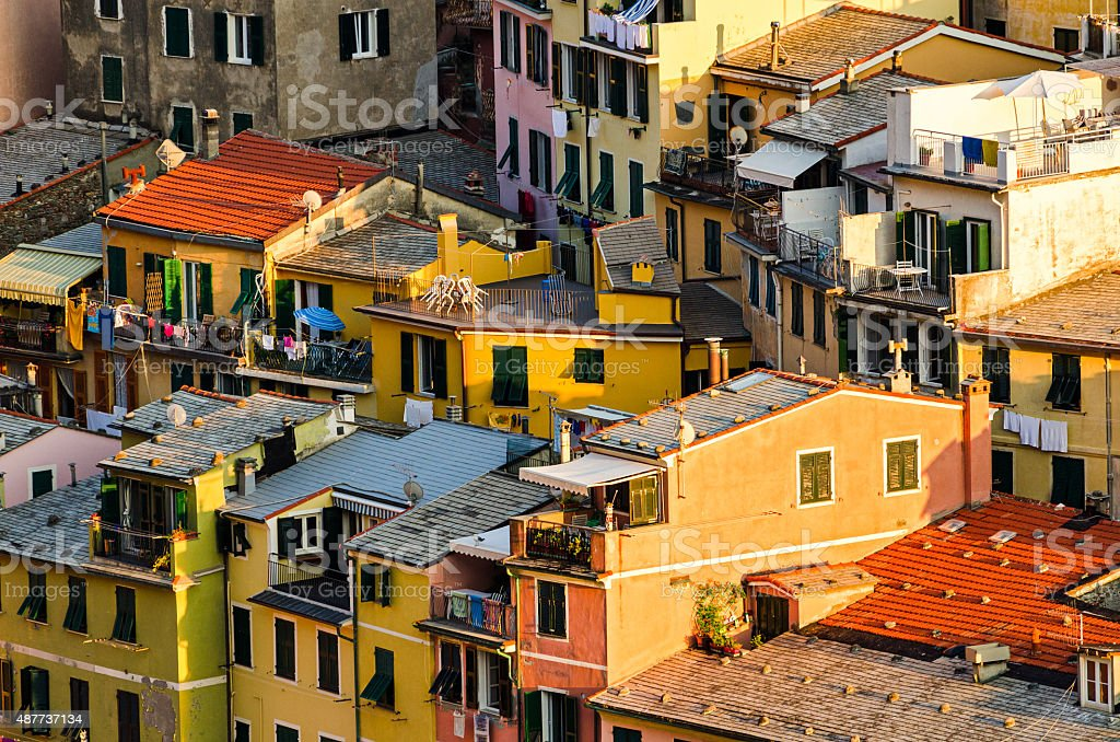 Vernazza, Cinque Terre (Italian Riviera, Liguria), houses detail stock photo