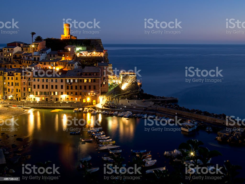 Vernazza harbour by night, Cinque Terre, Liguria, Italy. stock photo
