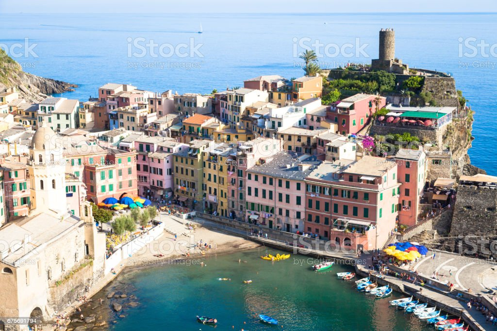 Vernazza in Cinque Terre, Italy - Summer 2016 - view from the hill stock photo