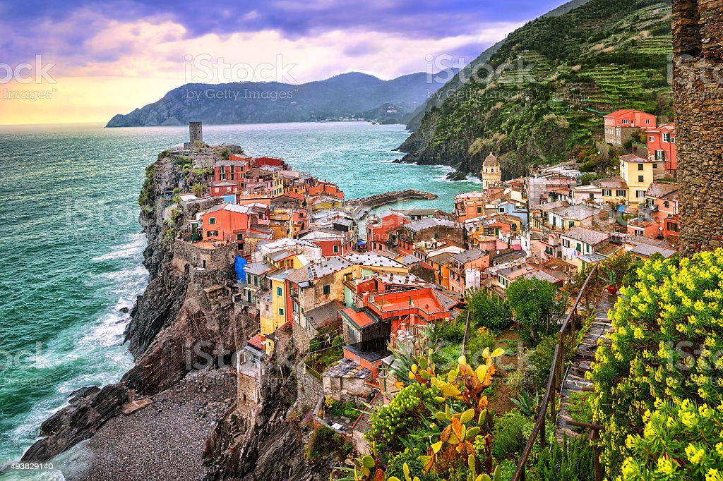 Vernazza in Cinque Terre, Liguria, Italy, on sunset stock photo