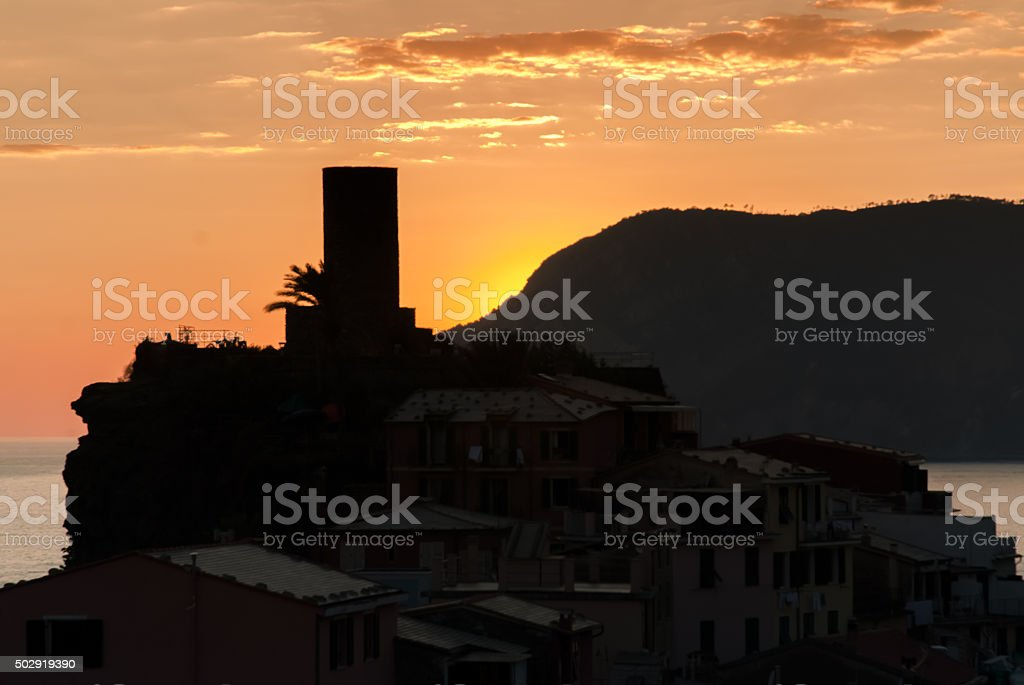 Vernazza, Italy Old Castle Tower at Sunset stock photo