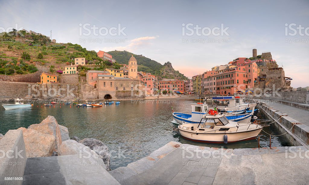Vernazza panorama at sunset, Cinque Terre, Italy stock photo