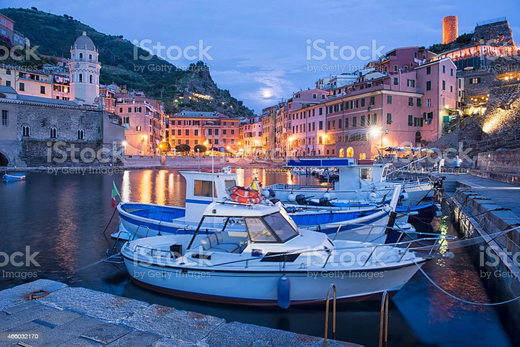 Vernazza surprised at blue hour, Cinque Terre, Italy stock photo