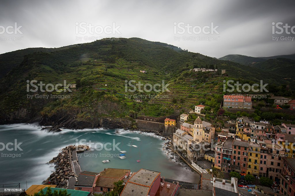 Vernazza (Cinque Terre), View of the City from Castello Doria stock photo