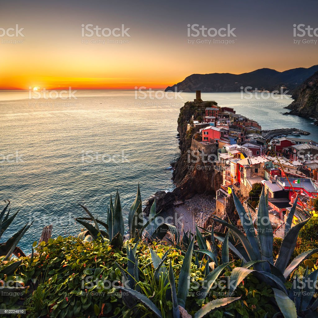 Vernazza village, aerial view on red sunset. Cinque Terre, Ligur stock photo