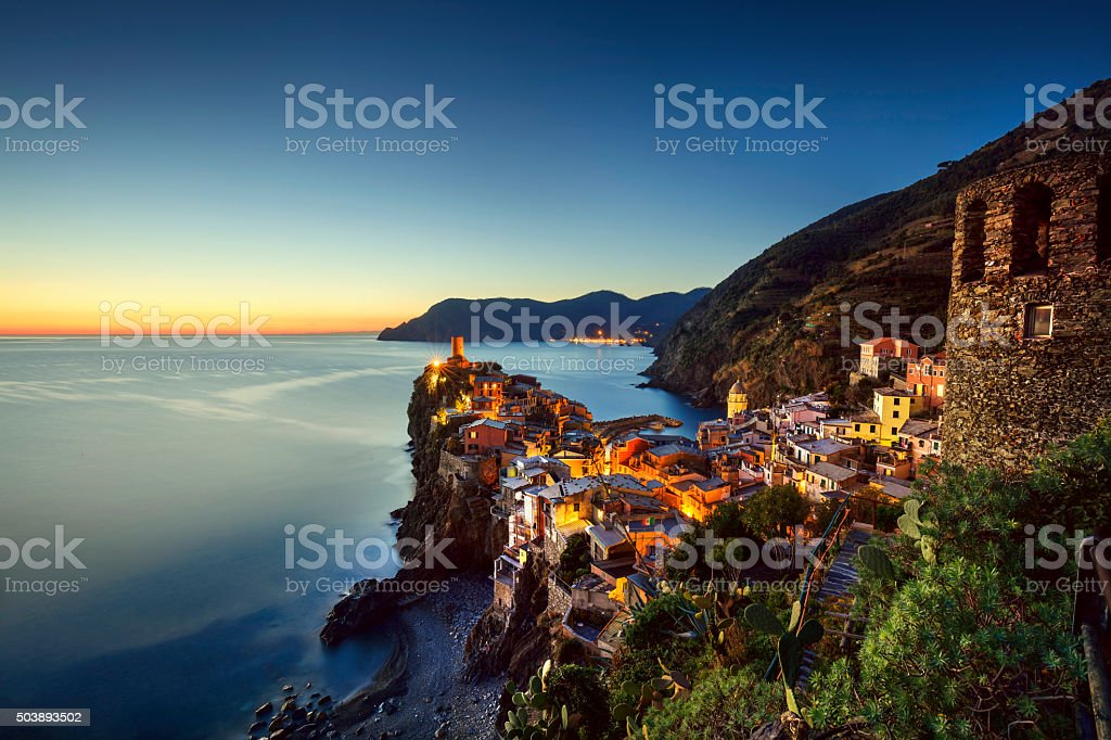 Vernazza village, aerial view on sunset. Cinque Terre, Ligury, I stock photo