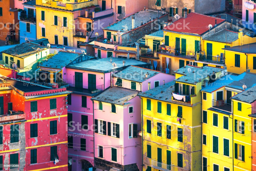 Vernazza village, buildings aerial view. Cinque Terre, Ligury, Italy stock photo
