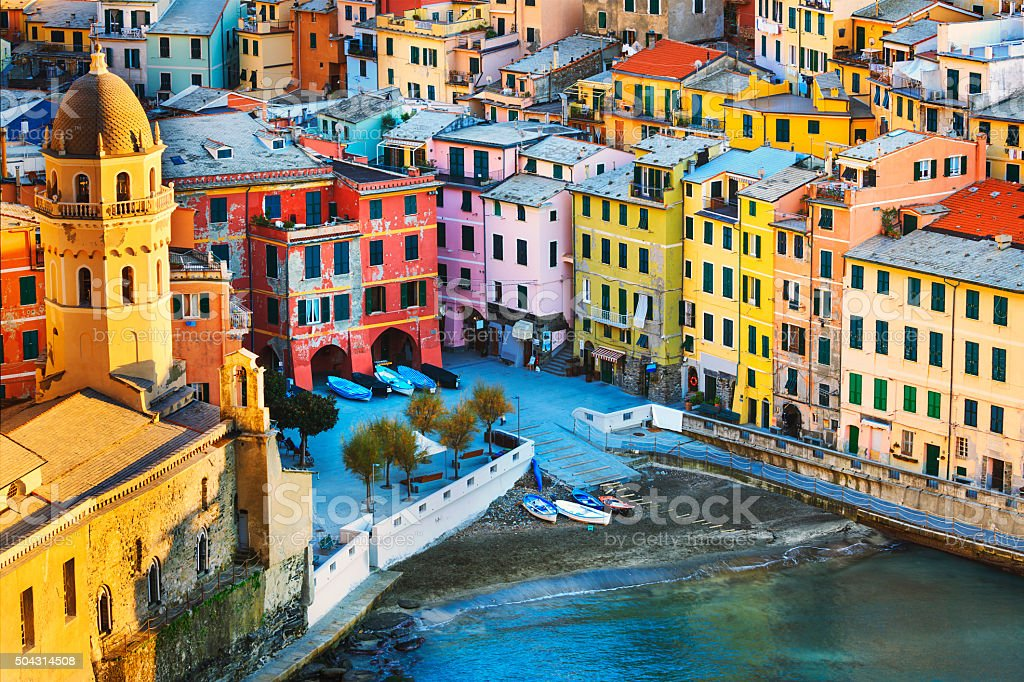 Vernazza village, church and buildings aerial view. Cinque Terre stock photo