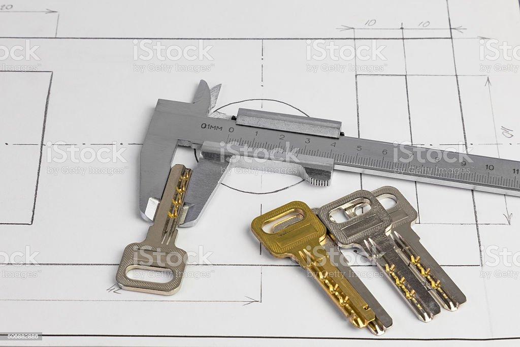 vernier caliper and the keys stock photo