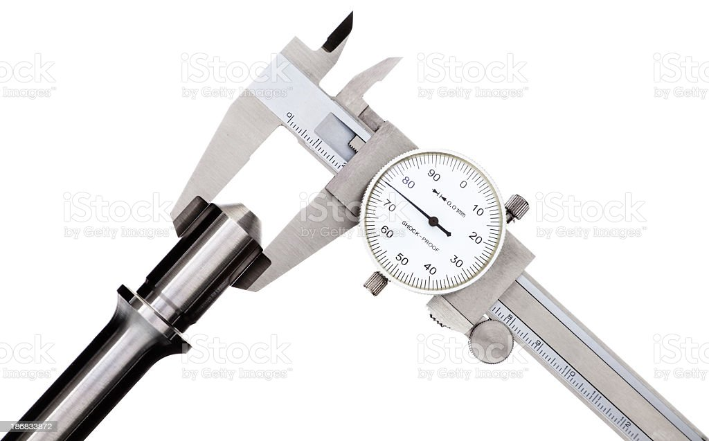 Vernier Caliper measurement of the workpiece diameter stock photo