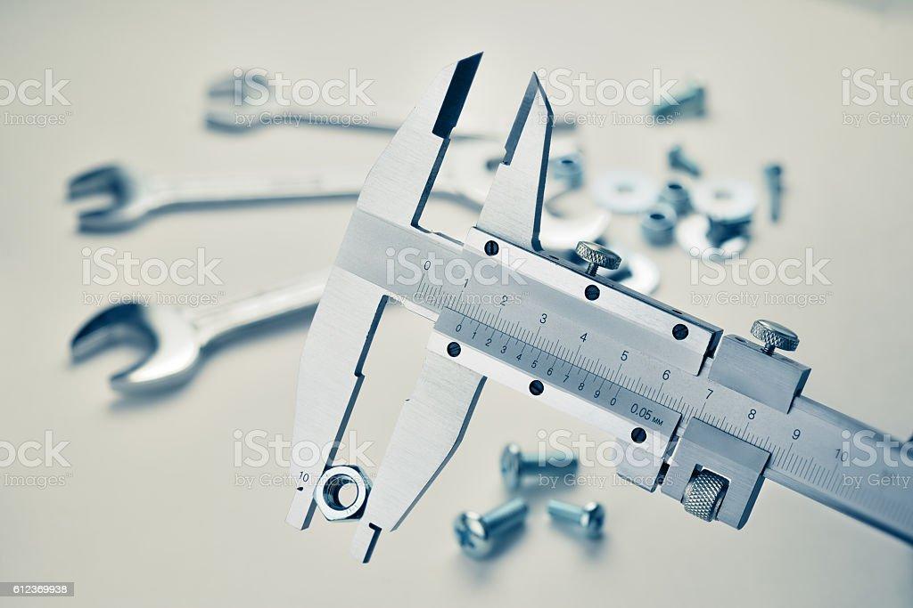 Vernier caliper measuring stock photo