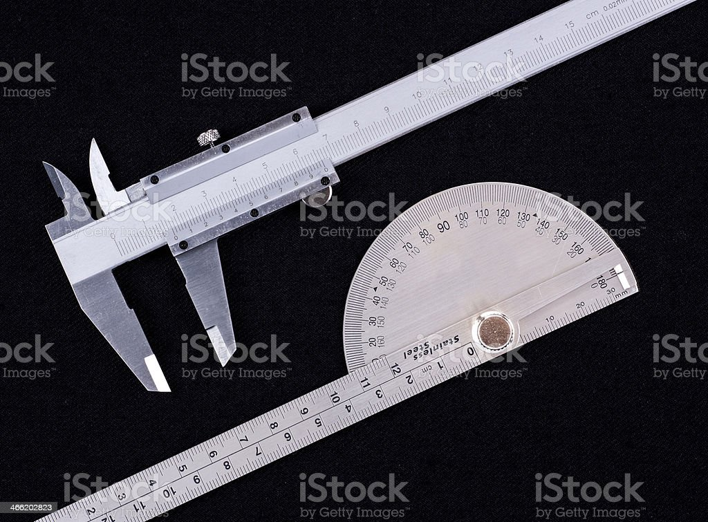 Vernier calipers and protractor stock photo