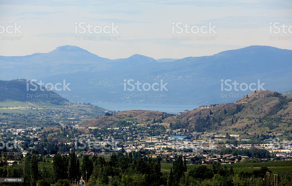 Vernon British Columbia Business,Turtle Mountain And Lake Okanagan stock photo
