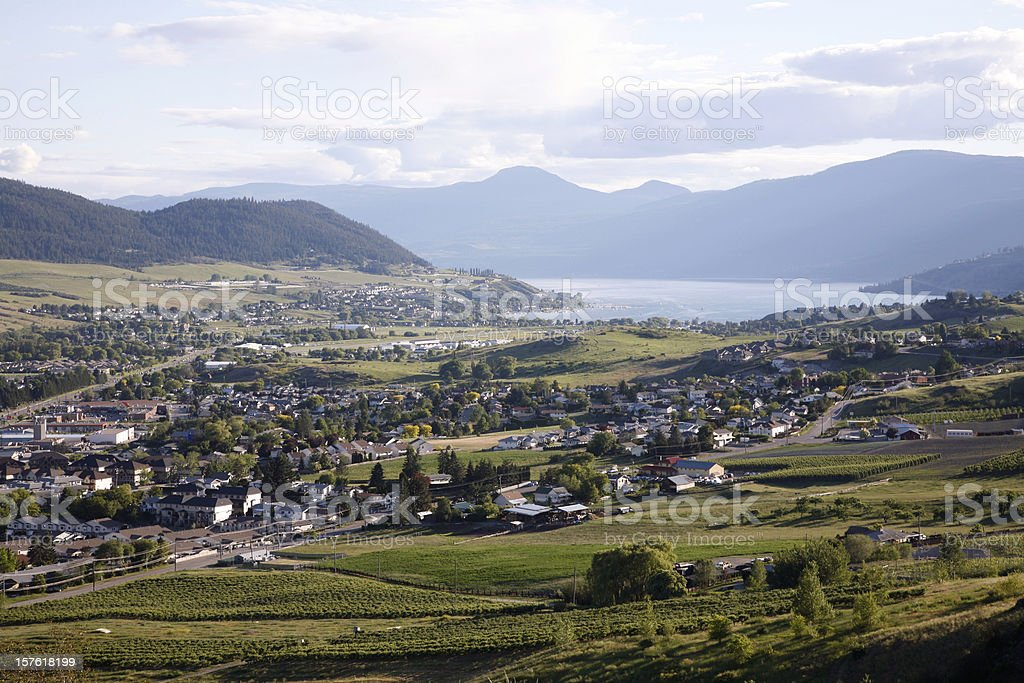 Vernon British Columbia Evening From Turtle Mountain stock photo