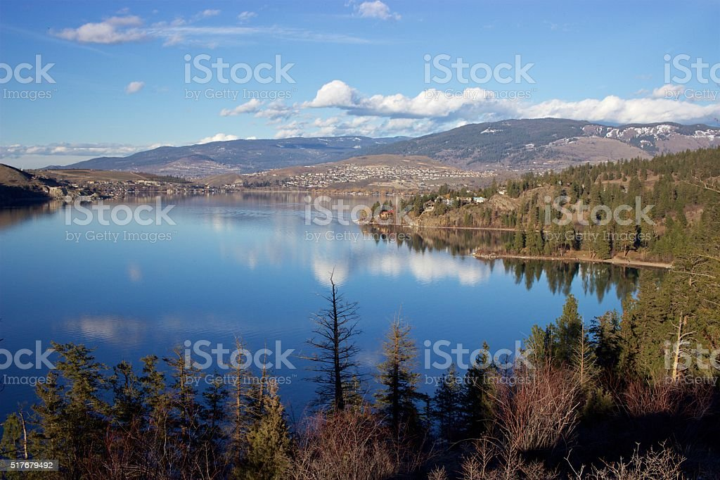 Vernon, British Columbia, from Rattlesnake Point, Kalamalka Lake Provincial Park stock photo
