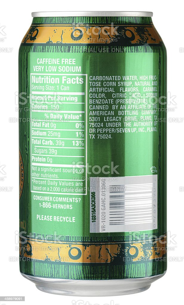 Vernors Nutrition Facts stock photo