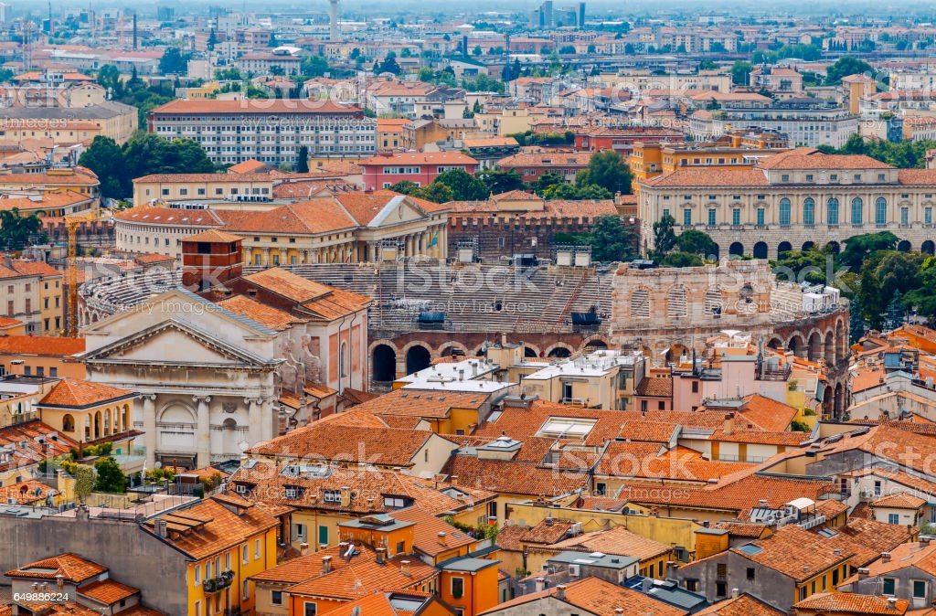 Verona. Aerial view of the city stock photo
