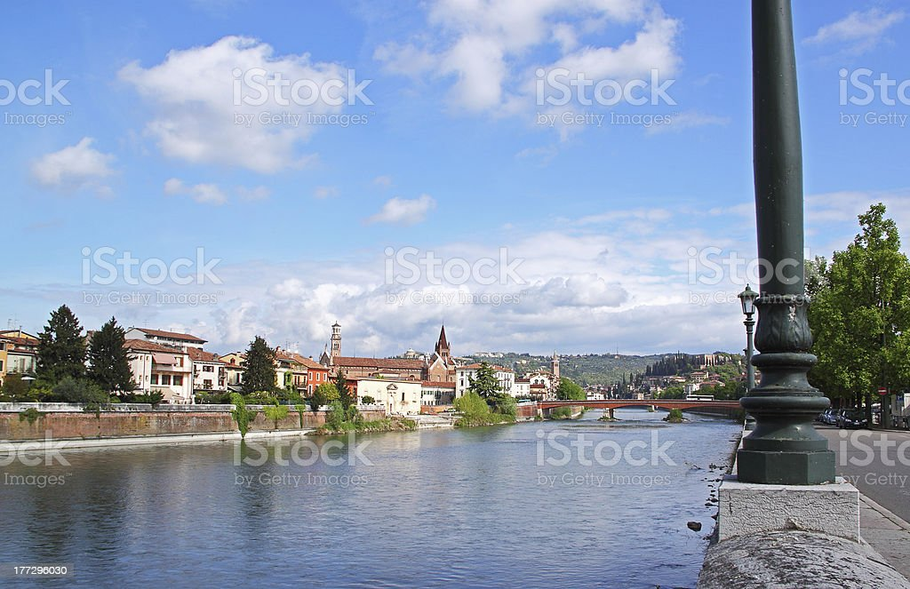Verona along the river Adige, Italy royalty-free stock photo