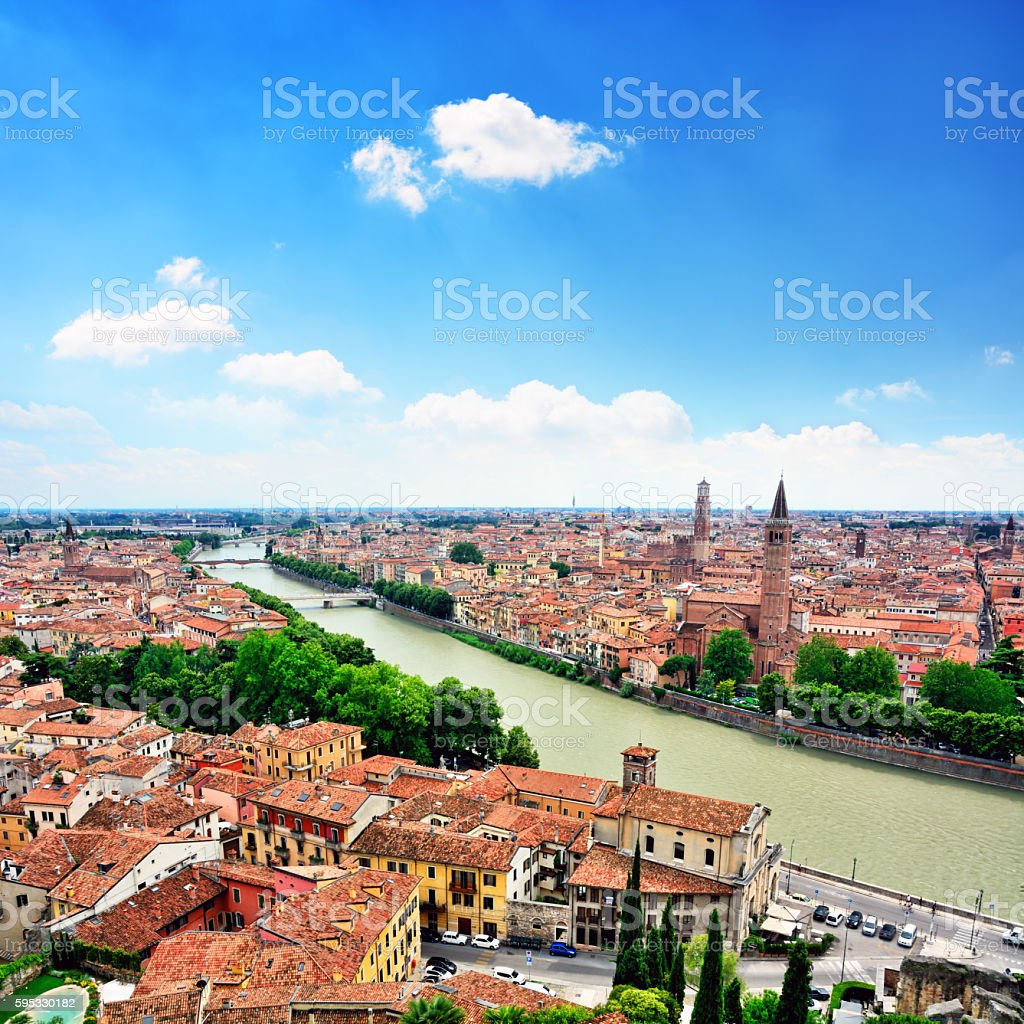 Verona and Adige River stock photo