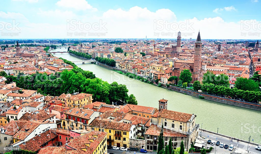 Verona and Adige River stock photo