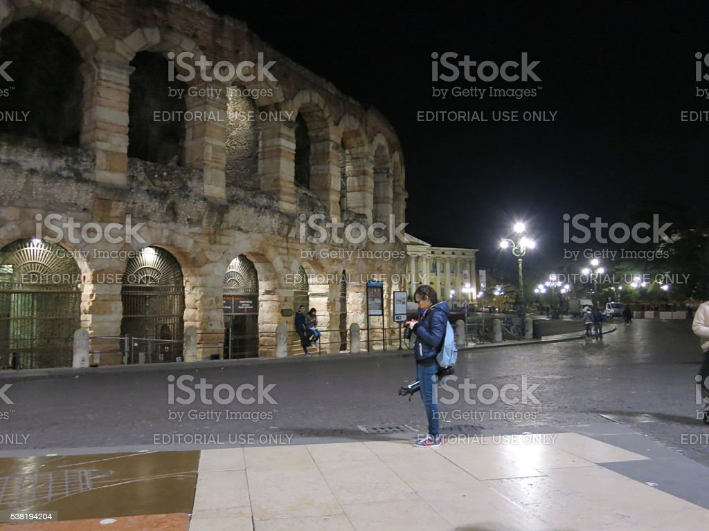 Verona arena at night, northern Italy stock photo
