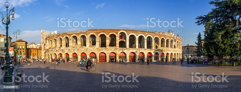 Verona Arena High-Resolution Panorama at Sunset stock photo