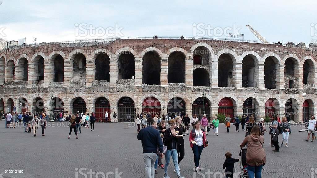 Verona Arena Situated At Pizza Bra Italy Europe  And People stock photo