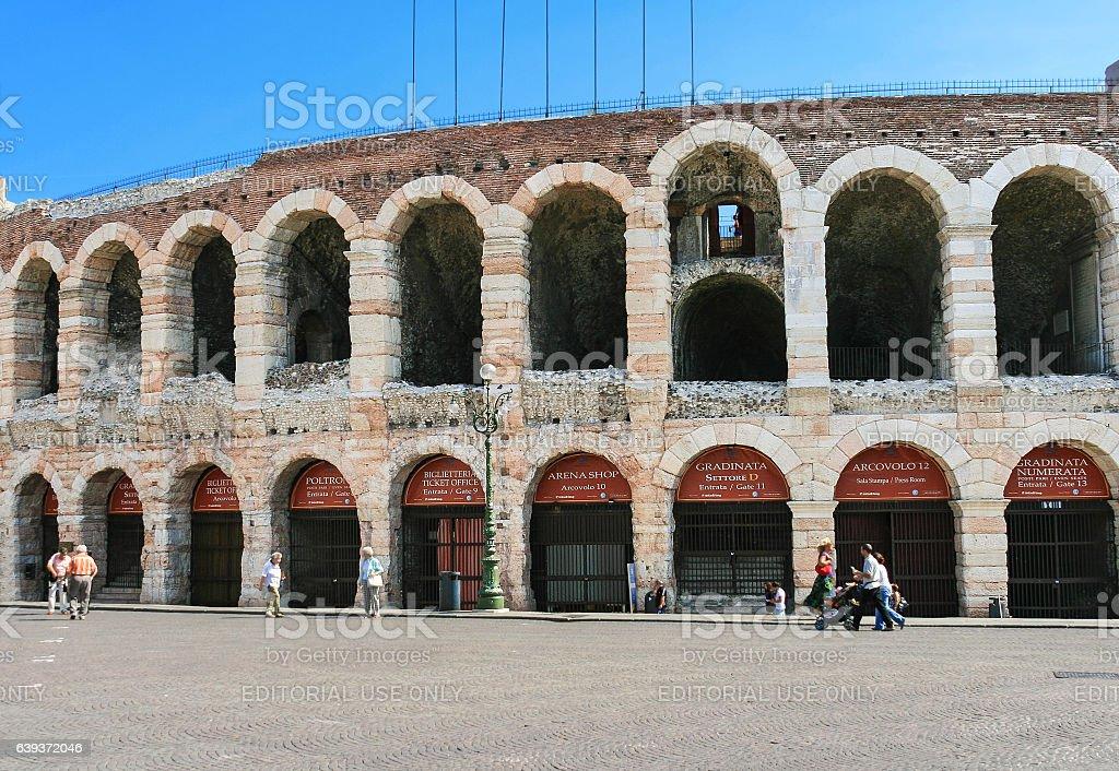 Verona Arena, Tourists and Piazza Bra, Verona, Italy. stock photo