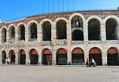Verona Arena, Tourists and Piazza Bra, Verona, Italy.