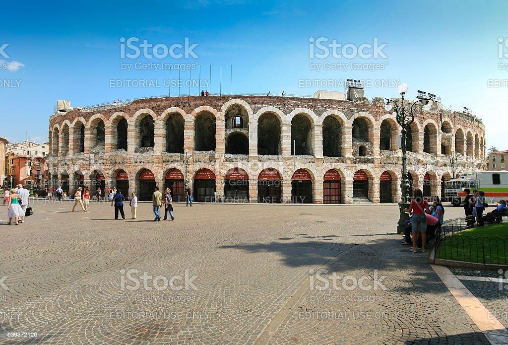 Verona Arena, Tourists and Piazza Bra, Verona, Italy. stock photo