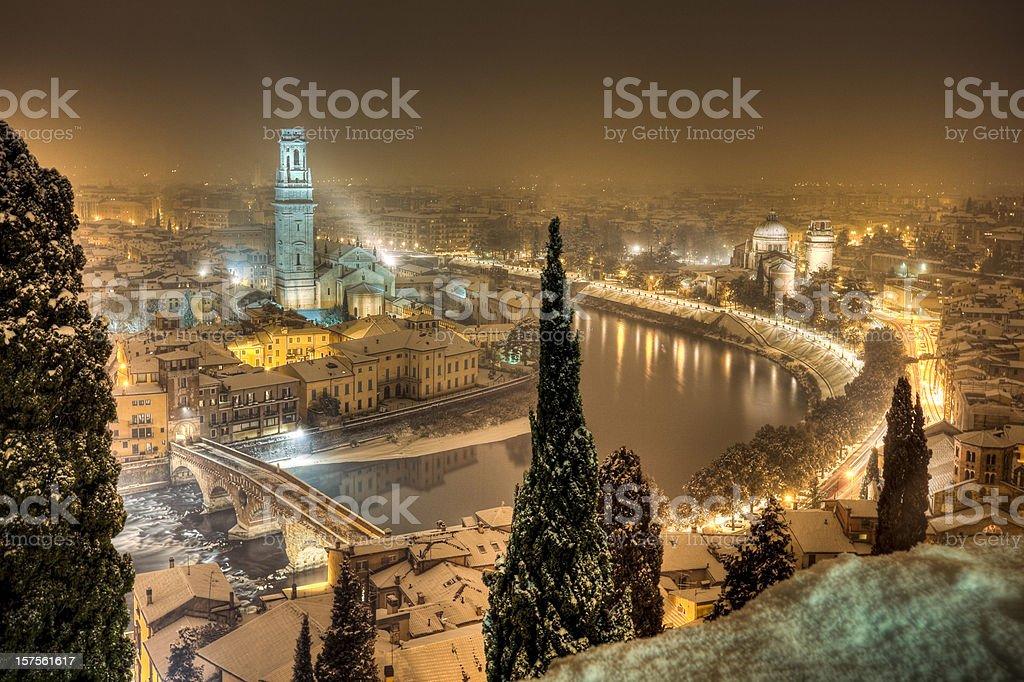 Verona By night_panoramic view stock photo