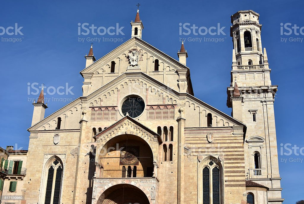Verona Cathedral facade with its composite style and belfry stock photo