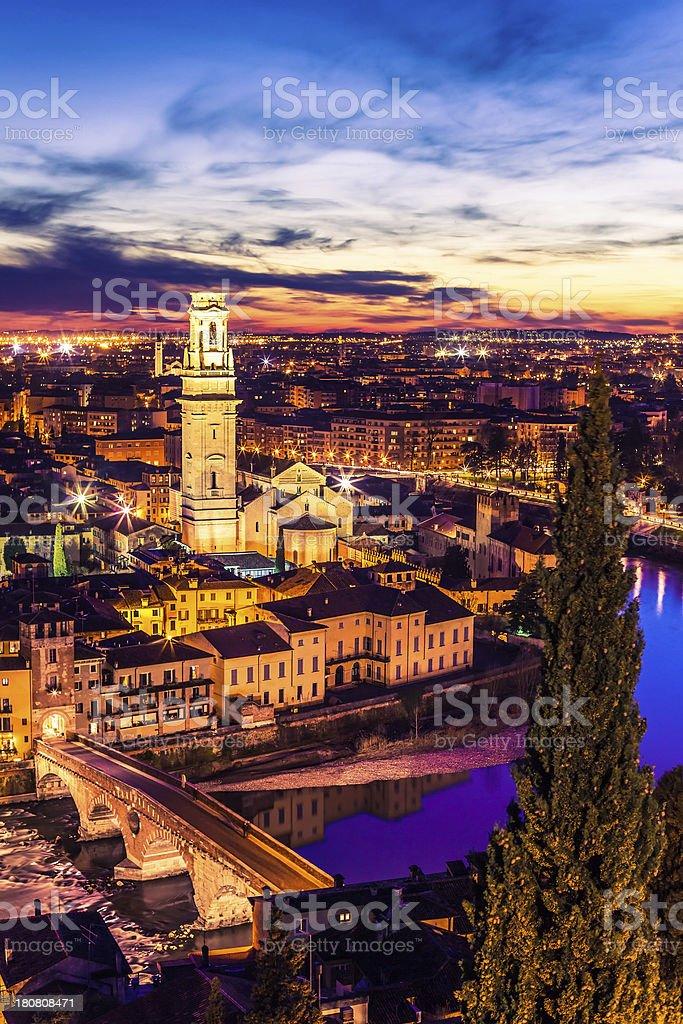 Verona Cityscape By Night, Italy stock photo