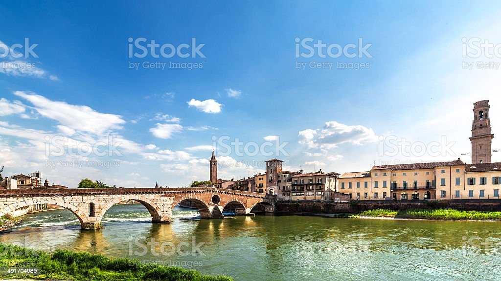 Verona cityscape. Ponte Pietra stock photo